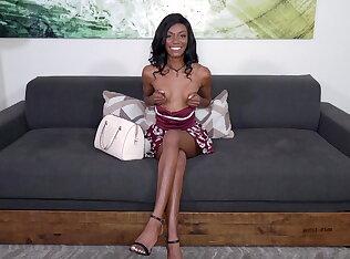 Skinny black girl riding his hard dong